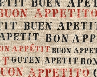 Bon Appetit Word Fabric - Gillian Fullard/London Portfolio for Michael Miller DC5506 Flax D - 1/2 Yard