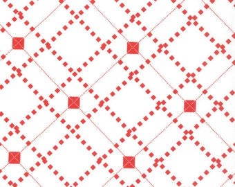 Sweater Check Fabric - Little Apples Little Lolli Sweater Check by Aneela Hoey for Moda Fabrics 18515 27 White - 1/2 yard