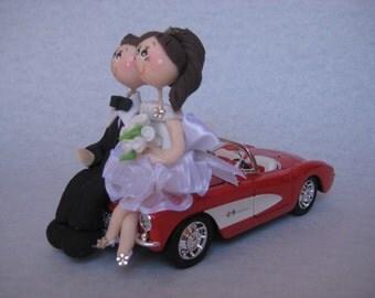 Custom wedding cake topper, car cake topper