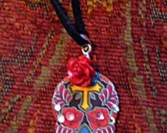 Black Sugar Skull Tattoo Necklace - Day of the Dead - Dias de los Muertos