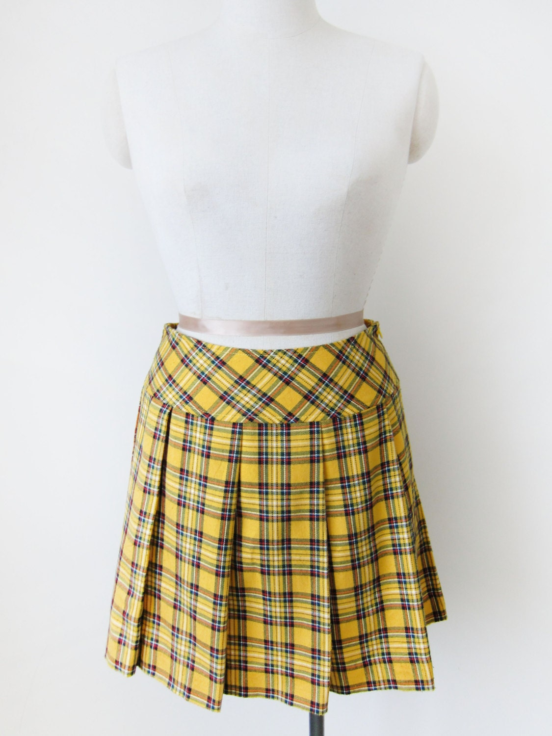 SALE HALF PRICE Vintage Yellow Plaid Cotton Mini Pleated Skirt