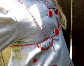 Embroidered girls jacket, archaicpatterns embroidery, upcycled, sz 4, 5, gray and red