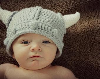 Crocheted Infants Viking Hat