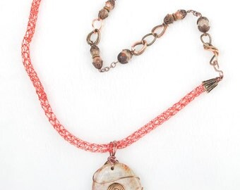 Viking knit necklace with stone pendant