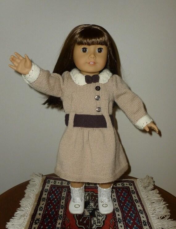 Daisy Doll Knitting Pattern : Doll Knitting Pattern PDF D002 Daisy Tan & Brown Dress