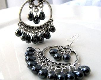 Boho Chandelier Earrings, Bohemian Earrings, Gunmetal earrings, Metallic Grey teardrops, Gunmetal chandelier earrings, Czech glass