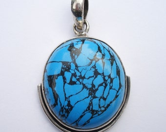 Sterling Silver and Turquoise Dyed Howlite Pendant