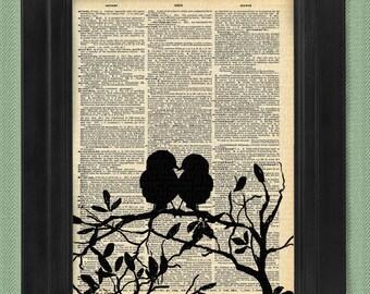 Anyone Can Love, Love Birds, Birds - art print, dictionary Art, Book Art, wall Decor, Wall Art Mixed Media Collage