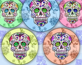 Sugar Skulls (015) Digital Collage Sheet 4x6 bottle cap images .. Bottlecap glass tiles ..
