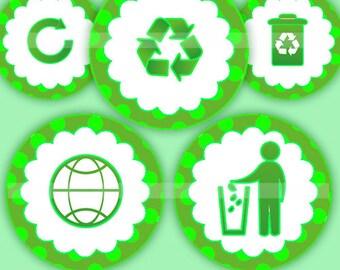 Recycle (016)  Digital Collage Sheet 4x6 bottle cap images .. Bottlecap glass tiles ..