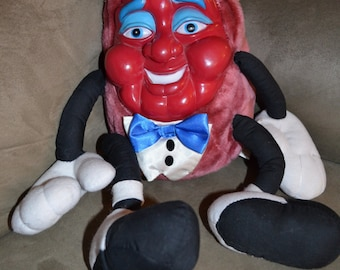 The CALIFORNIA RAISINS Vintage Plush Shelf-Sitter Doll with Vinyl Face circa 1987