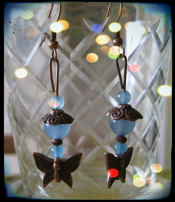 Handmade Copper Earrings with Aquamarine & Butterfly by IreneDesign2011