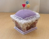 Purple Floral Square Dish Pincushion