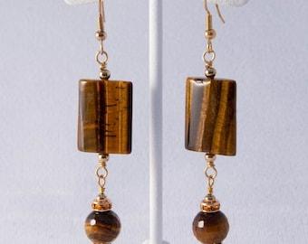 Gold Tiger Eye Earrings