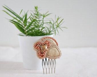 Natalie - bridal haircomb, flower beaded headpiece