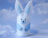 Finger Puppet White Bunny with Blue Accents