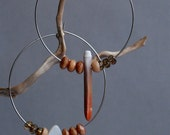 big boho hoops with sea urchin spine - mismatched asymmetrical earrings - natural ethnic jewelry