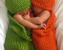 2 Knitting Patterns - Carrots and Peas Baby Cocoons Costumes - DIY Knit Bunting Patterns