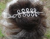 Long Celtic Braid Aluminum Hair Barrette, Hair Pin, Shawl Pin, Scarf Pin, Hair Clip - Celtic Long Hair Accessories- Aluminum Celtic Knots