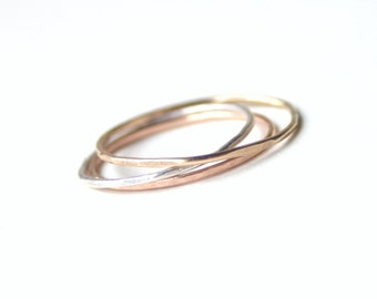 Set of Three Skinny Rings, Sterling Silver, Gold, Rose Gold