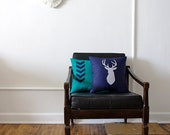 Chevron and Deer Pillow Set - Navy and Teal - CUSTOM ORDER