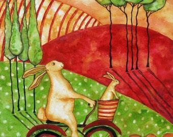 Debi Hubbs Folk Art Rabbit Bunny Bike Italian Farm Tuscan Country Animals Bicycle