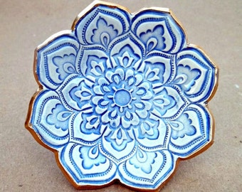 Ceramic ring dish Pale Blue and White Lotus edged in gold