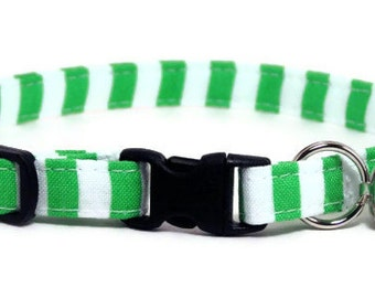 Cat Collar - Lime and White Stripes - Breakaway Safety Cute Fancy Cat Kitten Collar
