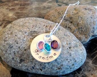 Personalized Grandma, Grammy, Nana or Mom Necklace with Swarovski Birthstone Charms