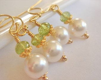 Bridesmaid Earrings, Wedding Jewelry, White Pearl Earrings, Gold Dangle Earrings, Bridesmaid Jewelry, Peridot Gemstone Earrings