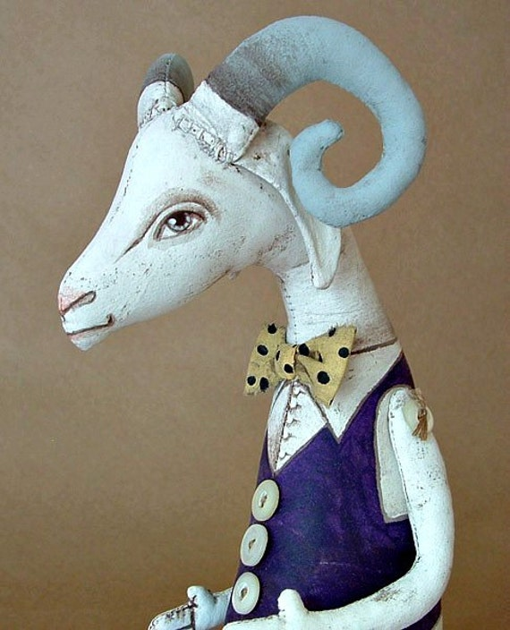 Gerard the Goat-- Original Contemporary Folk Art Doll-- Made to order within a week