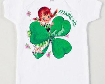 St Patrick's Day Irish Shamrock Girl Tee Retro Custom Size Vintage Shirt Personalized