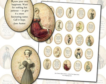 Jane Austen Quotes 30mm x 40mm oval 1.18in x 1.57 in digital collage sheet Regency 30x40 3x4 cm