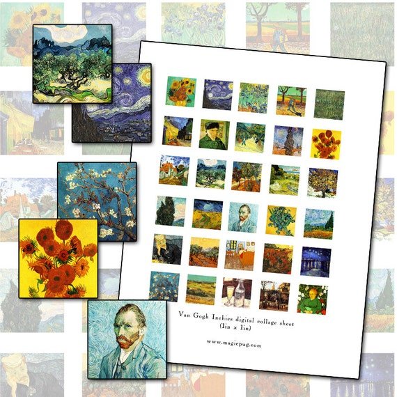 Vincent Van Gogh inchies 1 inch 25mm square digital collage sheet fine art 1x1 25.4mm square Impressionist Master