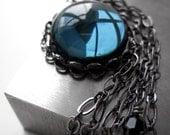 Montana Blue Glass Pendant Necklace, Midnight Blue Navy Glass Cabochon, Black Bezel, Long Black Gunmetal Chain, Modern Jewelry