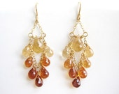 Gold Ombre Earrings - Amber Yellow Brown, classic chandelier hessonite garnet gemstone jewelry - Desert Oasis
