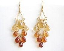 Gold Ombre Earrings - Amber Yellow Brown, classic chandelier hessonite garnet gemstone jewelry - Desert Oasis