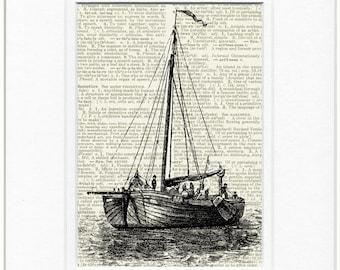 sail boat II dictionary page print