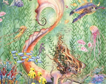 Mermaid Art Print Sealife Golden Tangerine Orange Mermaid Reading