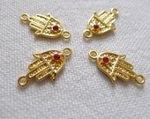 4 Gold Plated RED, Mini Hand Connectors with Crystals