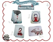 4 Postcard Pack, nautical postcards, art postcard, self posting postcard, whimsical postcard, fairytale cards, illustration postcard, girl