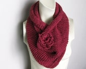 Hand Knitted Infinity Scarf Red Wine Cranberry