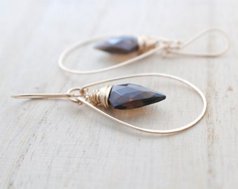 Arrowhead Hoop Earrings , Smoky Quartz Gold Hoops , Bohemian Boho Dangle Earrings , Rose Gold , Sterling Silver - Arrow