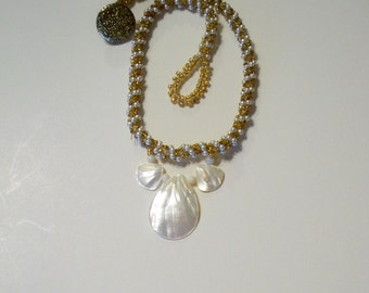 Pearl & Gold Choker Necklace with Mother of Pearl Shells on Gold  and Pearl Beaded Rope Necklace and with Vintage Gold Button Closure