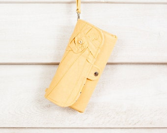 iPhone SmartPhone Clutch Wallet - Eco Rosie Clutch with ID pocket and Wristlet Strap in Butter -- Ready to Ship