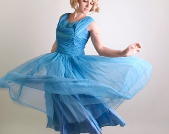 Vintage 1950s Prom Dress - Sky Blue Tulle Kerrybrooke Aquamarine Wedding Party Dress - Large - Spring