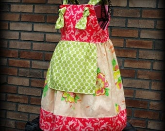 Girls Dress Peach Knot Dress Handmade Ready to Ship 2