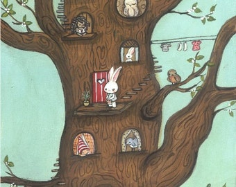 Animal Print Tree Art Squirrel Owl Bird Hedgehog Animal Critter Owl House Home Wall Art 5 x 10