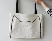 Over-sized Canvas Cat Tote Bag, gift for cat lady, market shopping bag, gift for cat lover, cat accessories, screen printed bag