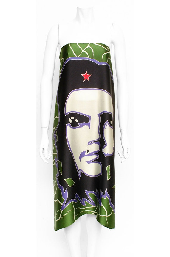 Che Guevara, Cuban scarf, Silk Scarf, Hand Painted, Unique scarf, Green scarf,  One of a kind scarf, Hand made scarf, Mens silk scarf